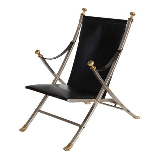 1970s Maison Jansen Stainless Steel Brass and Leather Lounge Chair For Sale