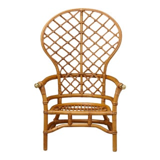 Hollywood Regency High Back Fan Style Rattan Armchair With Brass Elements For Sale