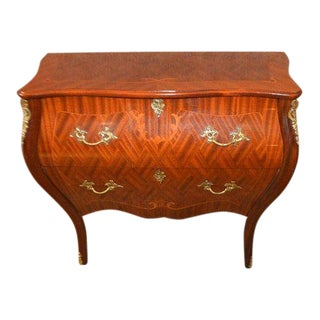 Vintage Italian Inlaid Bombe' Two Drawer Commode With Brass Ormolu For Sale
