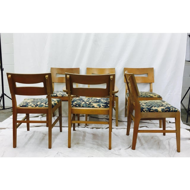 Vintage Mid-Century Modern Square Back Wooden Dining Chairs - Set of 6 For Sale In Raleigh - Image 6 of 9