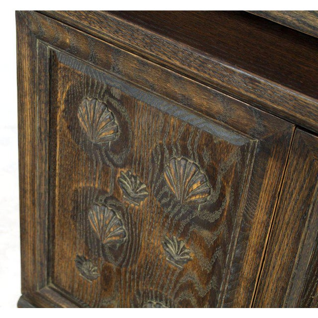 1960s Cerused Carved Scallop Oak Leather Wrapped Campaign Portable Secretary Desk For Sale - Image 5 of 13