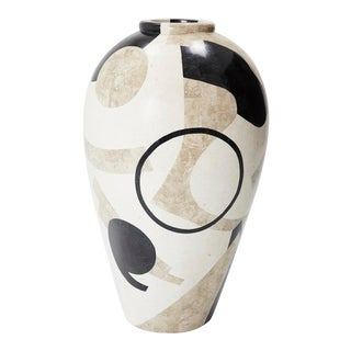 "Extra Large 42"" Post Modern Tessellated Et Cetera Mango Jar Floor Vase, 1990s For Sale"