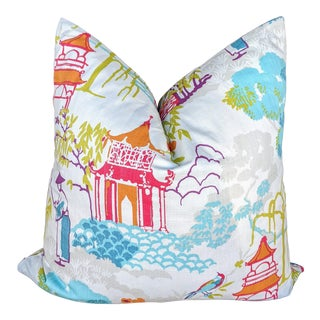 Chinoiserie Oriental Garden Pagoda Multi Pillow Cover For Sale