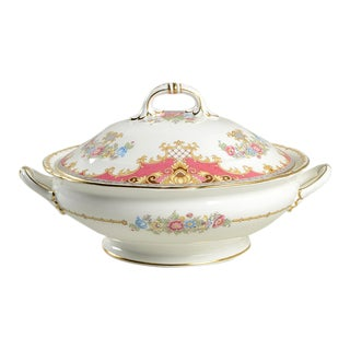 Shelley Sheraton Pink Round Covered Server For Sale