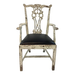 Hickory Chair Black Leather Chippendale Arm Chair For Sale