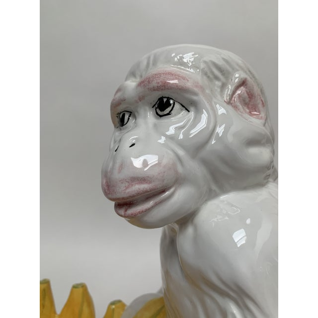 Bellini Large Italian Majolica Ceramic Monkey With Banana Bowl For Sale - Image 4 of 12