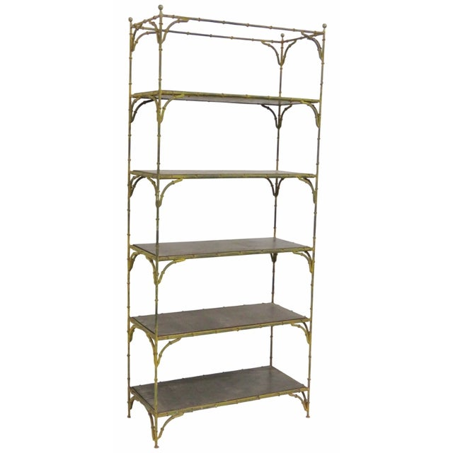 Distressed Painted Metal Faux Bamboo Etagere - Image 1 of 4