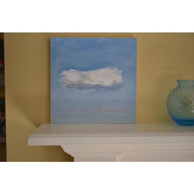 "A study of a fleeting cloud. This is professional grade acrylic on a cradled 3/4"" thick, 10"" square wood panel. Unframed,..."