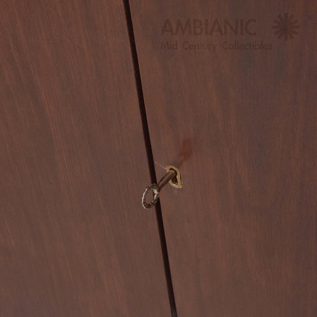 Mexican Modernist Mahogany and Bronze Credenza Dresser Attributed Arturo Pani For Sale - Image 9 of 10