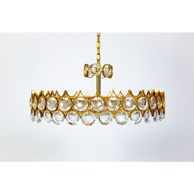 Large Circular Palwa Gilt Brass and Optical Lens Crystal Chandelier (2 Available) For Sale - Image 12 of 12