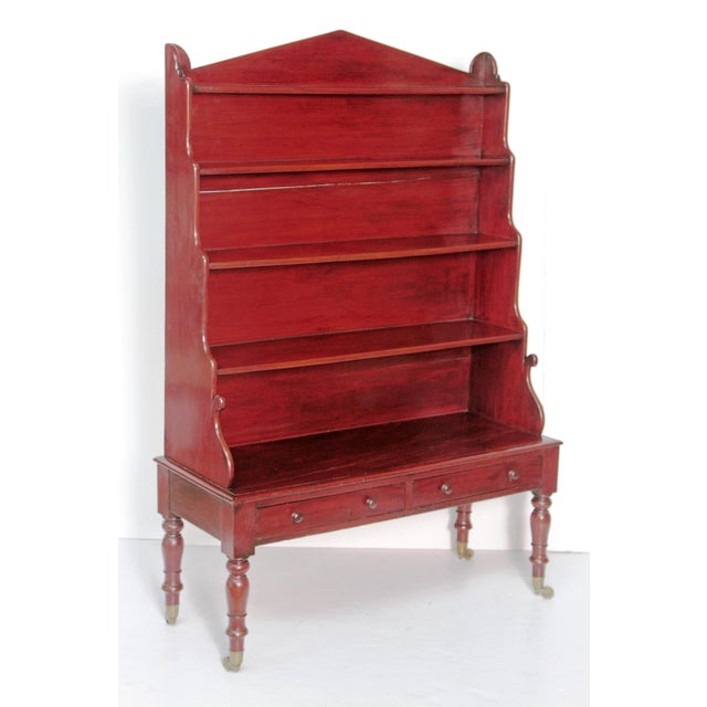 Hollywood Regency Pair of English Regency Dwarf Waterfall Bookcases For Sale - Image 3 of 10