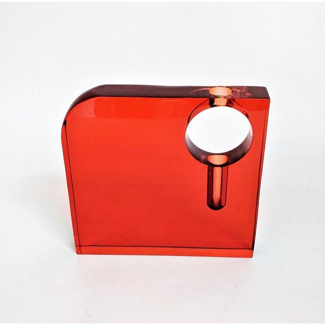 Orange Lucite Bud Vase For Sale - Image 4 of 11
