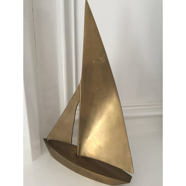 MCM Vintage Brass Sailboat For Sale In Houston - Image 6 of 6