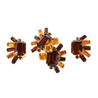Original by Robert, Topaz Glass Brooch and Earrings Set, C.1950s For Sale