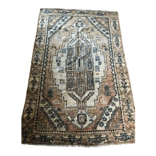 Persian Indigo Blue and Flax Rug For Sale