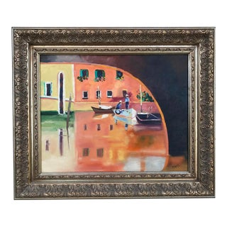 "Venice Boats - Original Oil Painting Framed Art ""After Ted Goerschner"" For Sale"