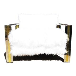 Italian Mid Century Modern Large Brass and Chrome Faux Sheepskin Armchair For Sale