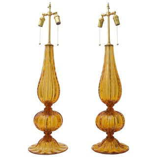 Golden Amber Controlled Bubble Murano Table Lamps by Alberto Dona - a Pair For Sale