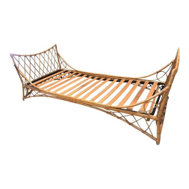 Vintage French Bamboo Daybed For Sale