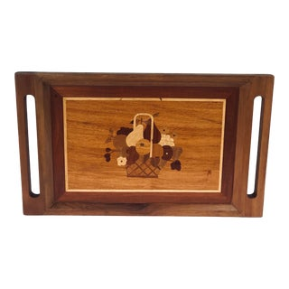 1950s Inlaid Wood Marquetry Design Tray For Sale