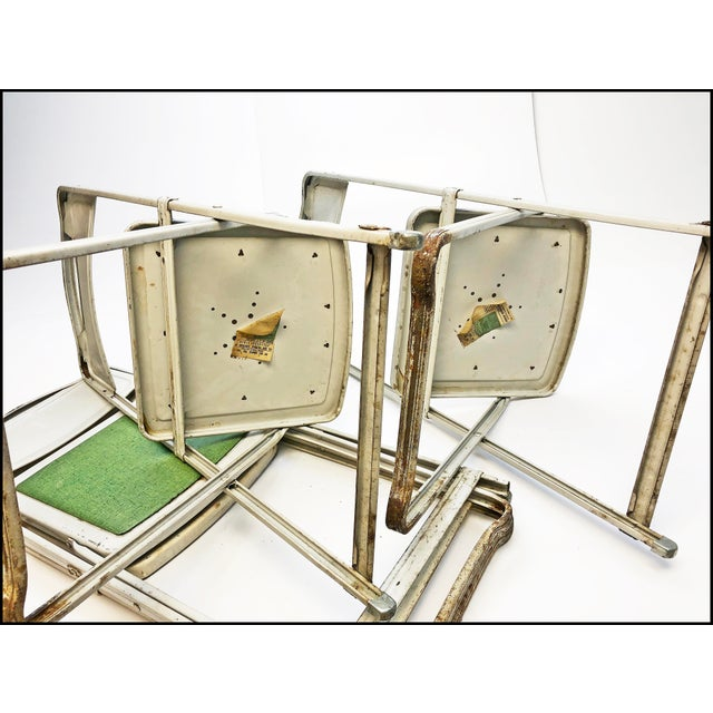 Vintage White Metal Folding Chairs With Green Vinyl Seats - Set of 4 For Sale - Image 9 of 11