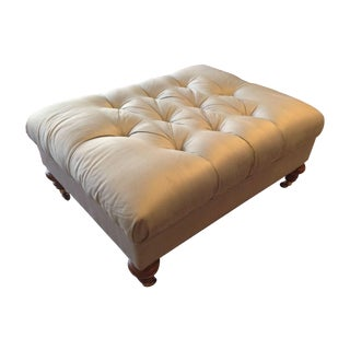 Thomasville Pale Green Silk Tufted Ottoman