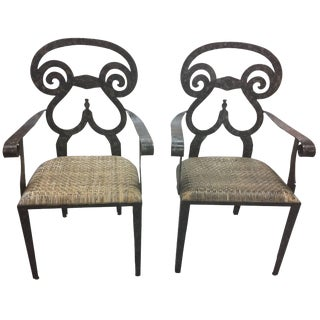 Sensational Sculptural Pair of Hand-Forged Iron and Rattan Armchairs For Sale