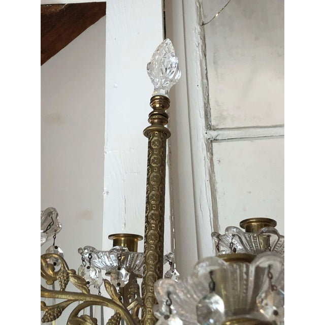 Neoclassical Cast Bronze and Crystal Candle Sconces -A Pair For Sale - Image 3 of 10