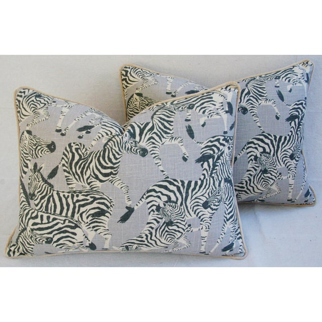 Pair of large custom-made pillows in a vintage unused printed 100% linen fabric depicting a wonderful safari zebra motif....