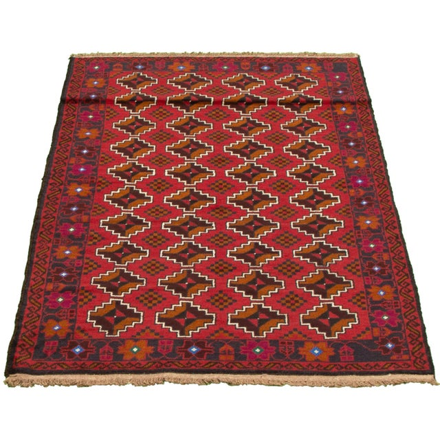 Tribal Tribal Afghan Hand-Knotted Rug For Sale - Image 3 of 9