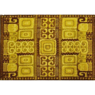 Large & Thick Swedish Rya Wool Rug With Abstract Cubist Detail by Ege - 6' X 9', Circa 1960s