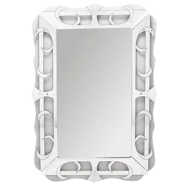 Scalloped, Silvered and Etched Glass Art Deco Mirror For Sale