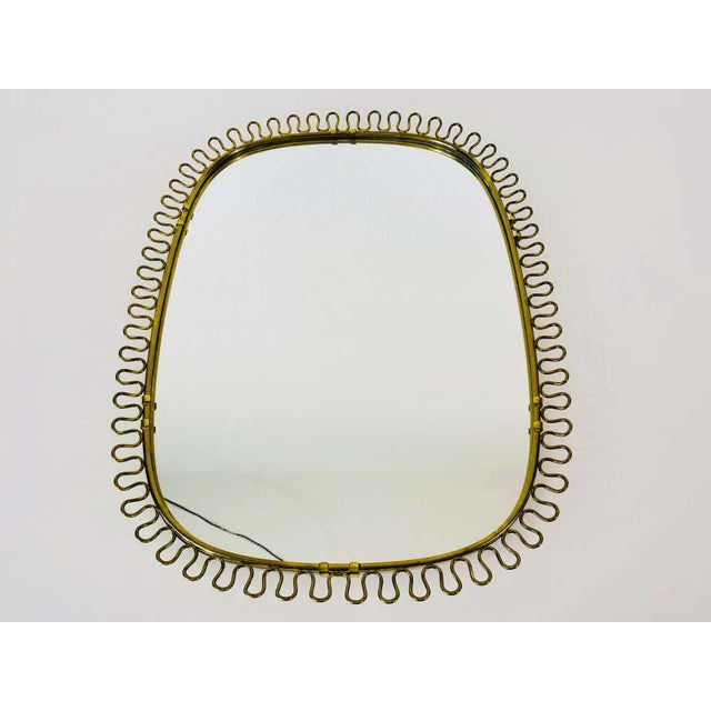 Italian Brass Framed Wall Mirror, 1960s, Italy For Sale - Image 9 of 11