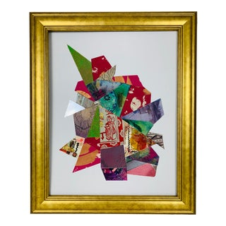 1990s Abstract Mixed Media Painting Collage by Marian Ford For Sale