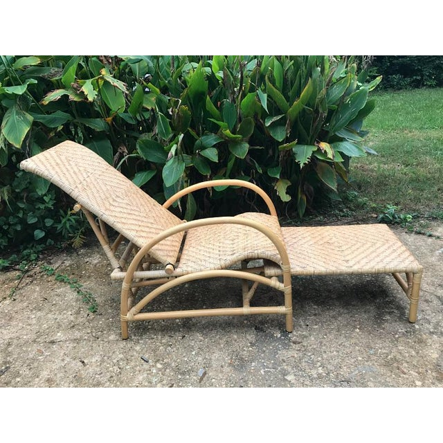Vintage Rattan Bamboo Adjustable Chaise Lounge Chair For Sale - Image 10 of 10