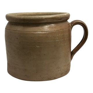 Late 19th Century Antique Salt-Glazed French Kitchen Crock For Sale