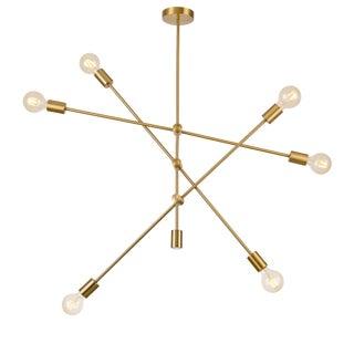 Pasargad Home Modern Gold Sputnik Chandelier 6 Lights Brass Plating For Sale