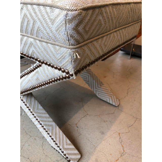 Textile Transitional Scalamandre Upholstered X Bench For Sale - Image 7 of 12