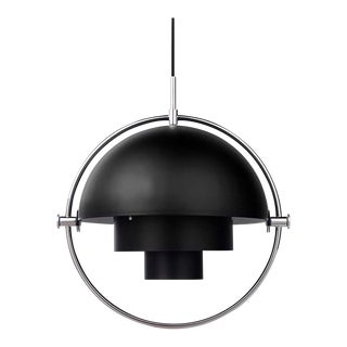 Louis Weisdorf 'Multi-Lite' Pendant Lamp in Black / Chrome For Sale