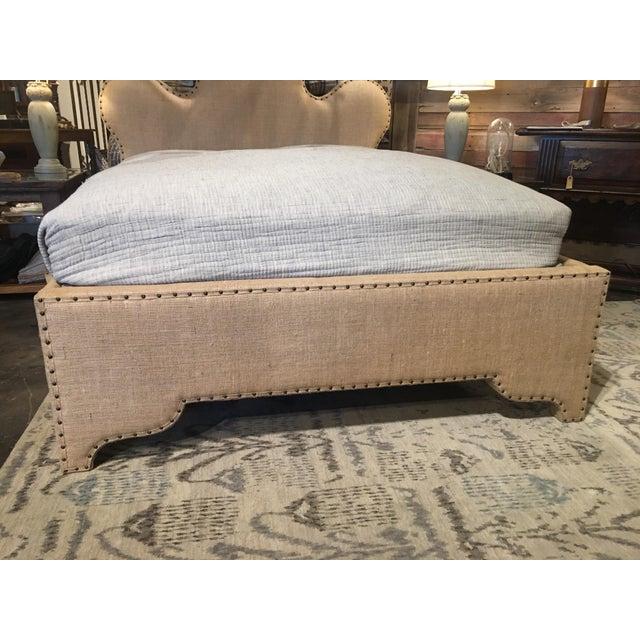 Tan Noir Queen Burlap Bed For Sale - Image 8 of 10