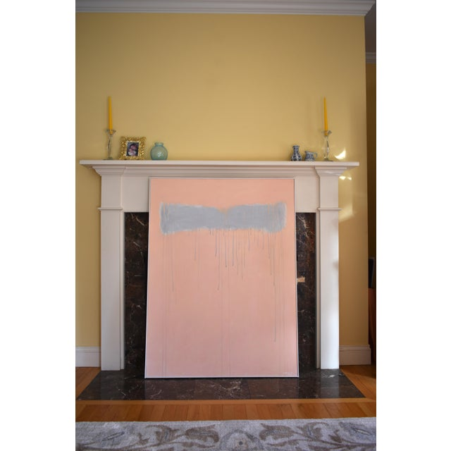 """2020s """"Peachy"""" Large Contemporary Abstract Triptych Painting by Stephen Remick For Sale - Image 5 of 12"""