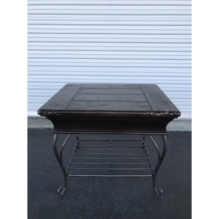 Black Distressed Wood and Wrought Iron Table Preview