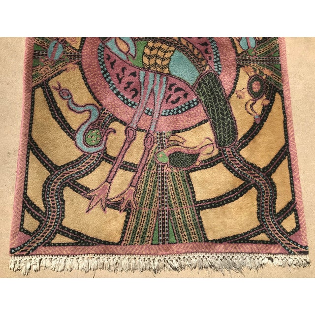 Textile Vintage Hand Knotted Persian Animal Rug- 3′ × 4′6″ For Sale - Image 7 of 10