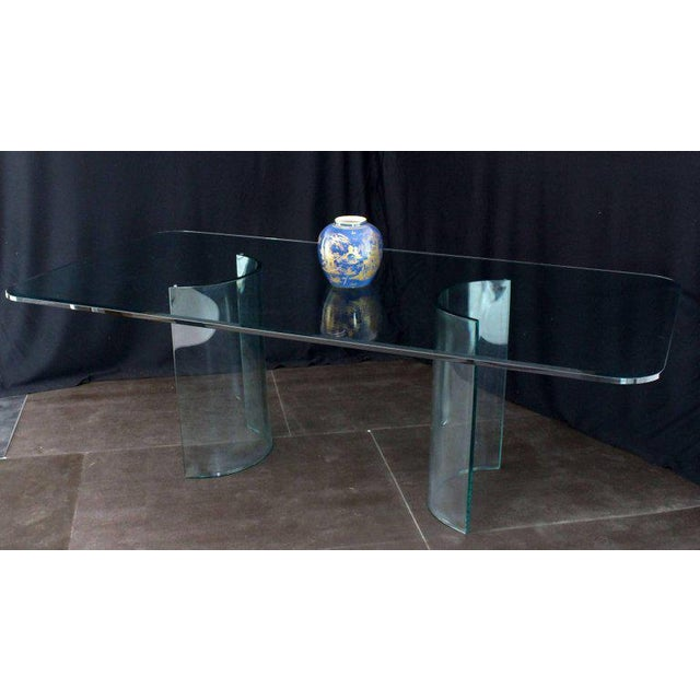 Curved Glass Base Thick 3/4 Glass Top Large Dining Conference Table For Sale - Image 4 of 9