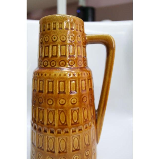 Mid-Century Modern 1960s Mid-Century West German Scheurich Keramik Inka Mustard Ceramic Pitcher For Sale - Image 3 of 10