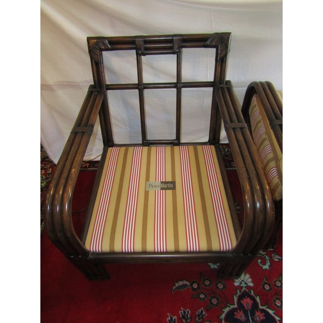 Pair of Pierce Martin Bamboo Accent Chairs & Pillows - Image 6 of 6