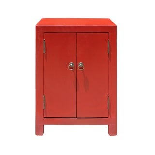 Chinese Red Lacquer Simple 2 Doors End Table Nightstand For Sale