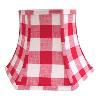 Red/White Checked Lamp Shade With Vintage Fabric For Sale