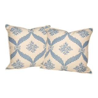 Blue & White Floral Pattern Pillows- A Pair For Sale