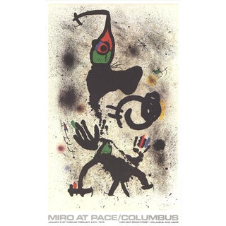 1979 Joan Miro 'At Pace-Columbus (Vertical)' Surrealism Multicolor,Black,White,Yellow,Red Usa Offset Lithograph For Sale